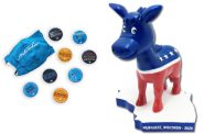 DNC memorabilia. Images from VISIT Milwaukee and Bobblehead Hall of Fame.