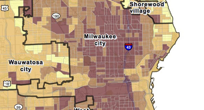 The Milwaukee County heat vulnerability index map. Click map for full view with explanation