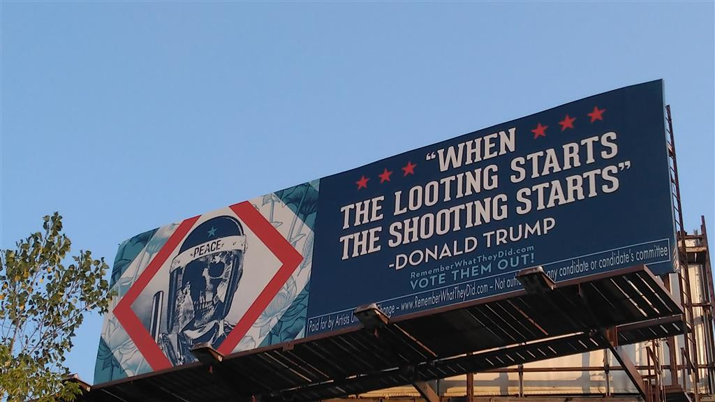 Shepard Fairey billboard in Milwaukee, WI. Photo courtesy of Artists United for Change.