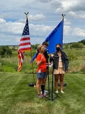Justice Jill Karofsky was sworn into the Wisconsin Supreme Court in an outdoor ceremony, flanked by her children, on Aug. 1, 2020.Image via Jill Karofsky for Justice Facebook stream.