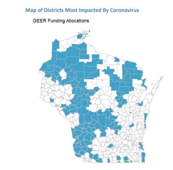 Above, a maps highlights the school districts that will receive GEER funding. Source: Office of the Governor