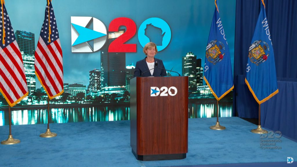 Tammy Baldwin. Image from the DNC live feed.