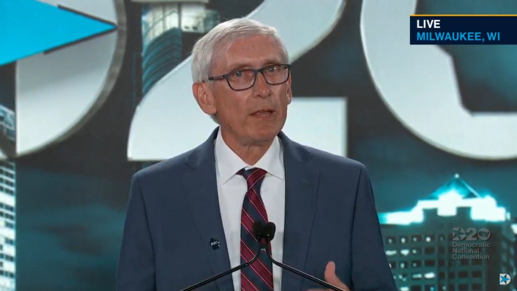 Governor Tony Evers. Image from DNC live feed.