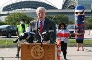 Mayor Tom Barrett speaks at a voter registration press conference at Miller Park. Photo by Jeramey Jannene.