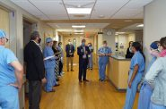 Staffers gather earlier this month for a blessing for the new obstetrics emergency department at Ascension St. Joseph's Hospital. Photo provided by Victoria Schmidt/Ascension Wisconsin.