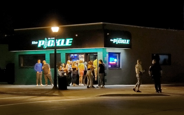 Students pack into Eau-Claire bar. Photo by Rich Kremer/WPR.