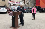 MFD Captain Michael Wright speaks at a press conference on MORI. Photo by Jeramey Jannene.