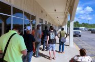 Line of people waiting to enter the DMV at 2701 S. Chase Ave. during the COVID-19 pandemic. File photo by Dave Reid.