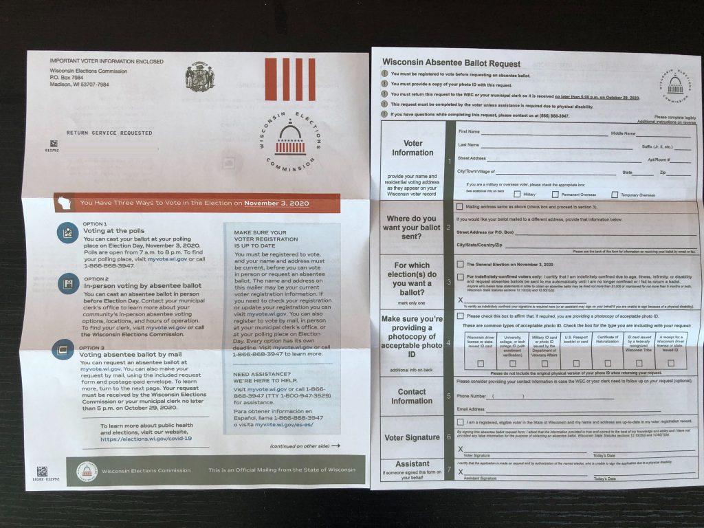 Absentee ballot application. Photo by Dave Reid.