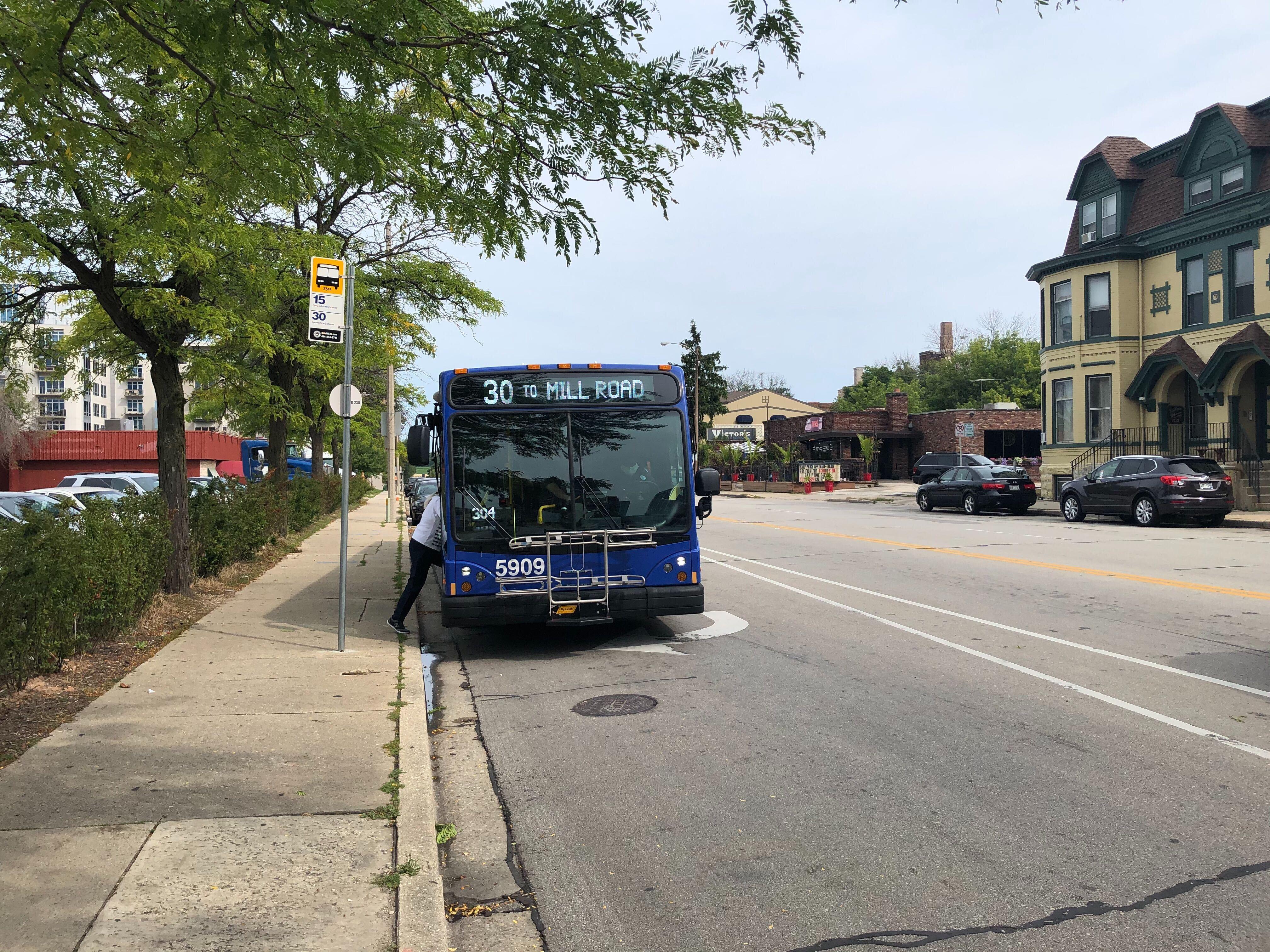 MCTS bus on N. Van Buren St. Photo by Dave Reid.