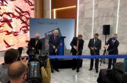Mark Irgens, Mayor Tom Barrett, BMO US CEO David Casper, Michael Best & Friedrich managing partner David Krutz and BMO senior executive Jud Snyder cut the ribbon at BMO Tower. Photo from BMO Financial Group.