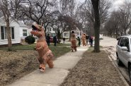 Dinosaur parade in Bay View in March 2020. Photo by Jeramey Jannene.