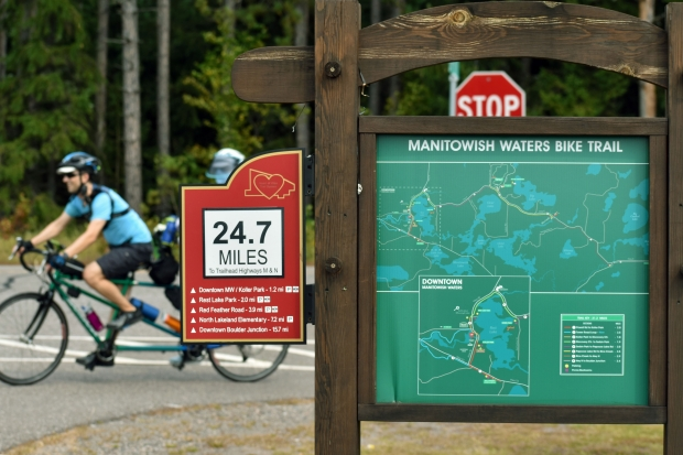 The beauty of northern Wisconsin and outdoor recreational opportunities is one factor that draws in city residents who are contemplating a move up north. Vilas County has 45 miles of paved trails, such as those seen here in Manitowish Waters on Tuesday, Sept. 15, 2020. Danielle Kaeding/WPR