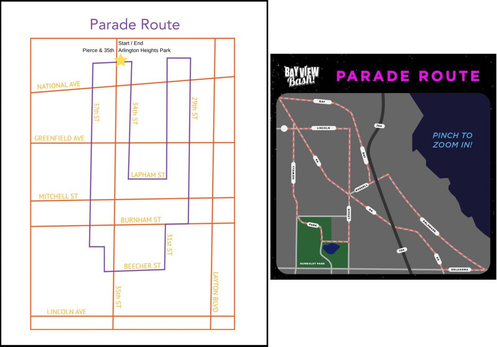 Silver City and Bay View parade routes. Images from the organizers.