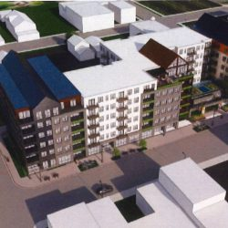 Conceptual rendering of building proposed for 603-645 S. 5th St. Rendering by JLA Architects.