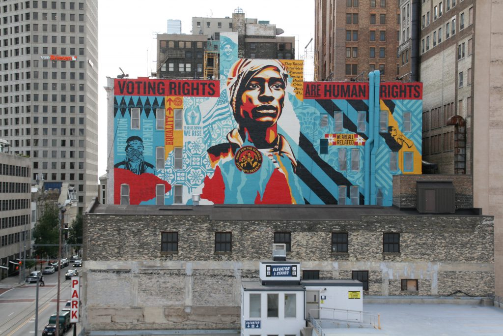 """Voting Rights are Human Rights"" mural by Shepard Fairey. Photo by Jeramey Jannene."