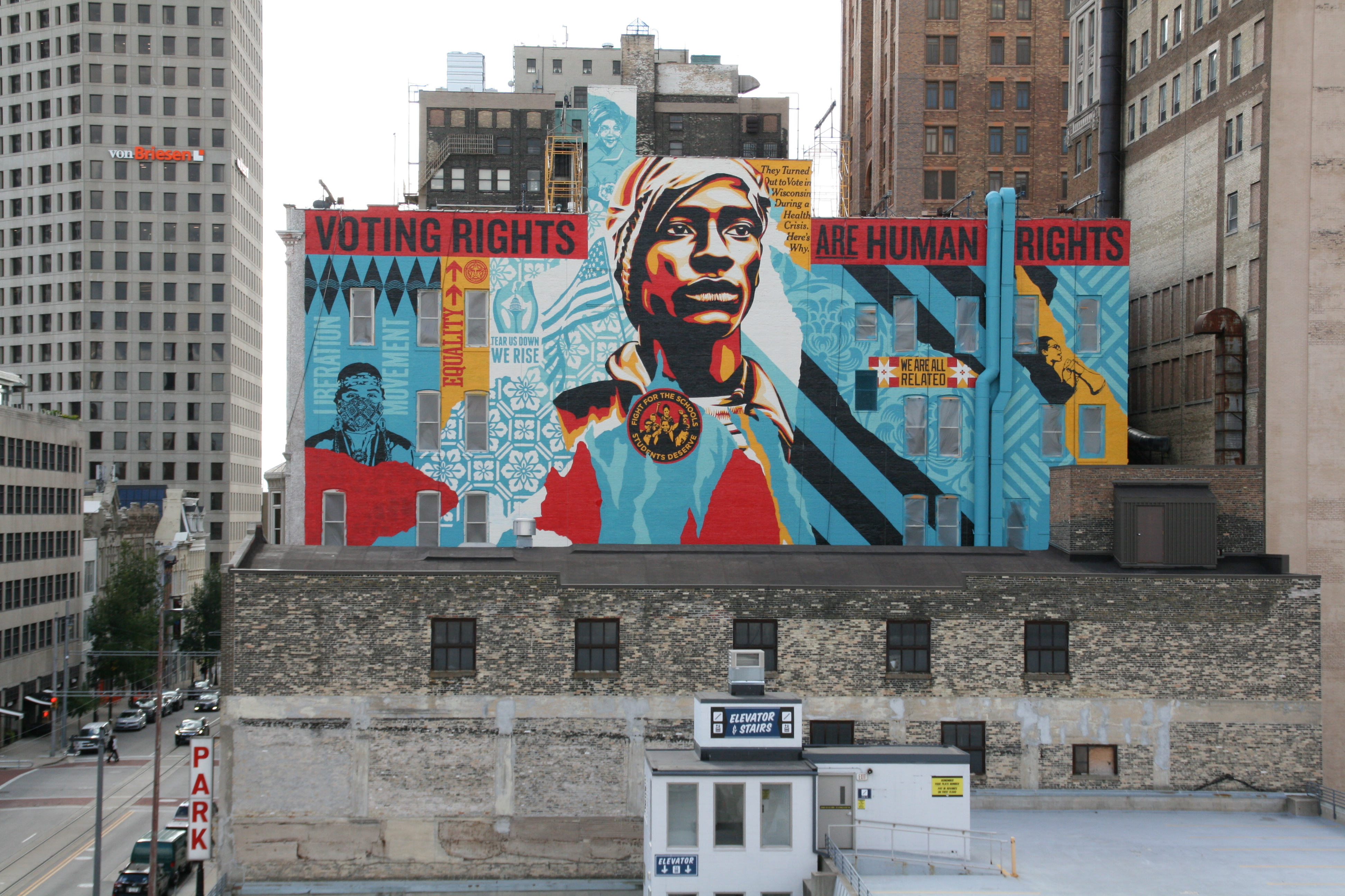 """""""Voting Rights are Human Rights"""" mural by Shepard Fairey. Photo by Jeramey Jannene."""