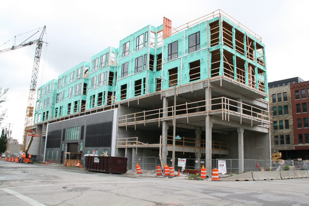 St. Paul and Jefferson apartment building construction. Photo by Jeramey Jannene.