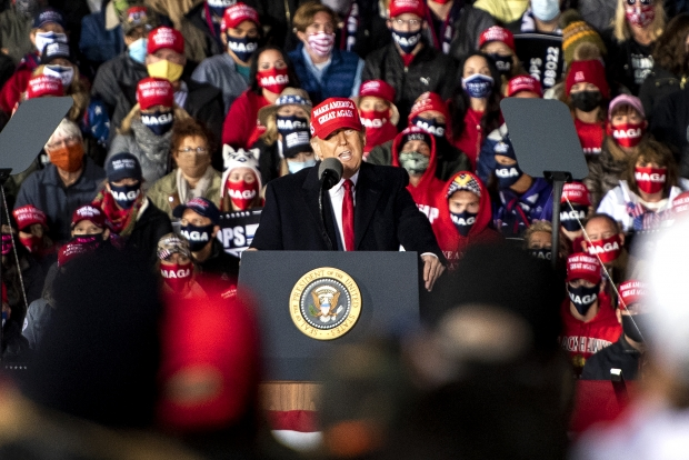 President Donald Trump speaks to supporters at a rally Saturday, Oct. 17, 2020, in Janesville. Angela Major/WPR