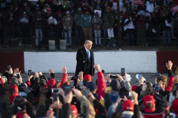 Supporters greet President Donald Trump on Tuesday, Oct. 27, 2020, at a rally in West Salem. Angela Major/WPR