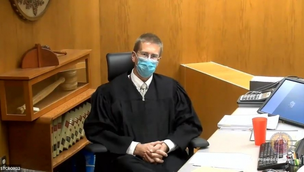 St. Croix County Judge Michael Waterman hears a challenge to Wisconsin's mask mandate on Oct. 5, 2020. YouTube/Wisconsin Court System