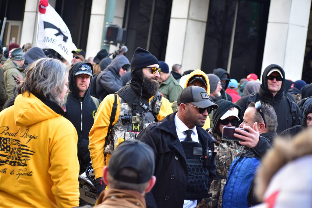 Proud Boys at Virginia 2nd Amendment Rally in January, 2020. Photo by Anthony Crider / CC BY (https://creativecommons.org/licenses/by/2.0).