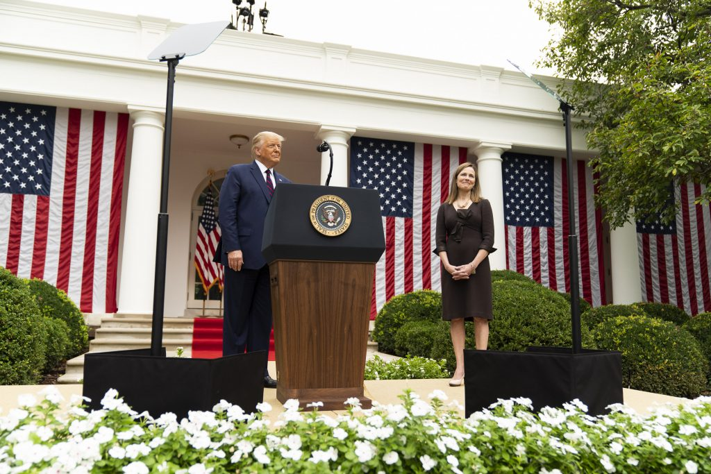 President Trump nominates Judge Amy Coney Barrett for associate justice of the U.S. Supreme Court. Official White House Photo by Shealah Craighead. (Public Domain).