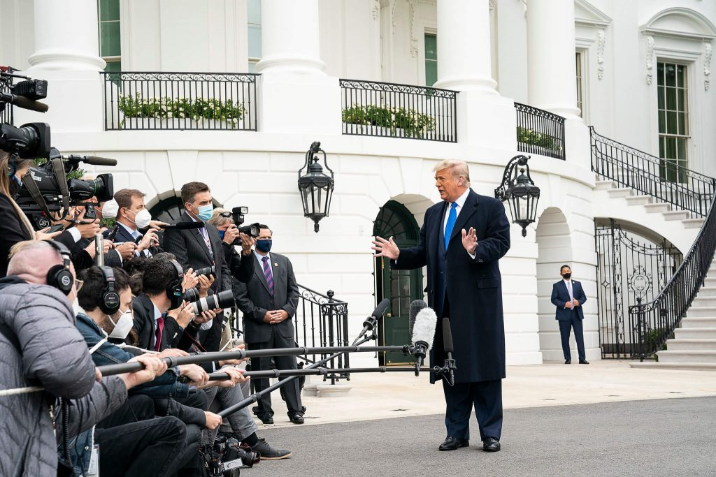 President Donald J. Trump talks to members of the press. (Official White House Photo by Joyce N. Boghosian)