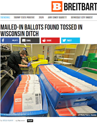 News of the discovery of three trays of mail in a ditch in Greenville, Wisconsin, evolved into a national talking point for conservative outlets such as Breitbart — and Republicans seeking to sow doubt in the integrity of mail-in voting. But the discarded mail did not include Wisconsin ballots, officials said. Breitbart