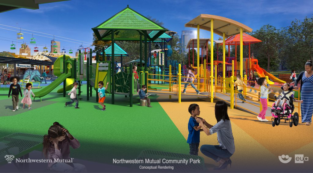 View of accessible playground (ages 2-5). Rendering by Eppstein Uhen Architects.