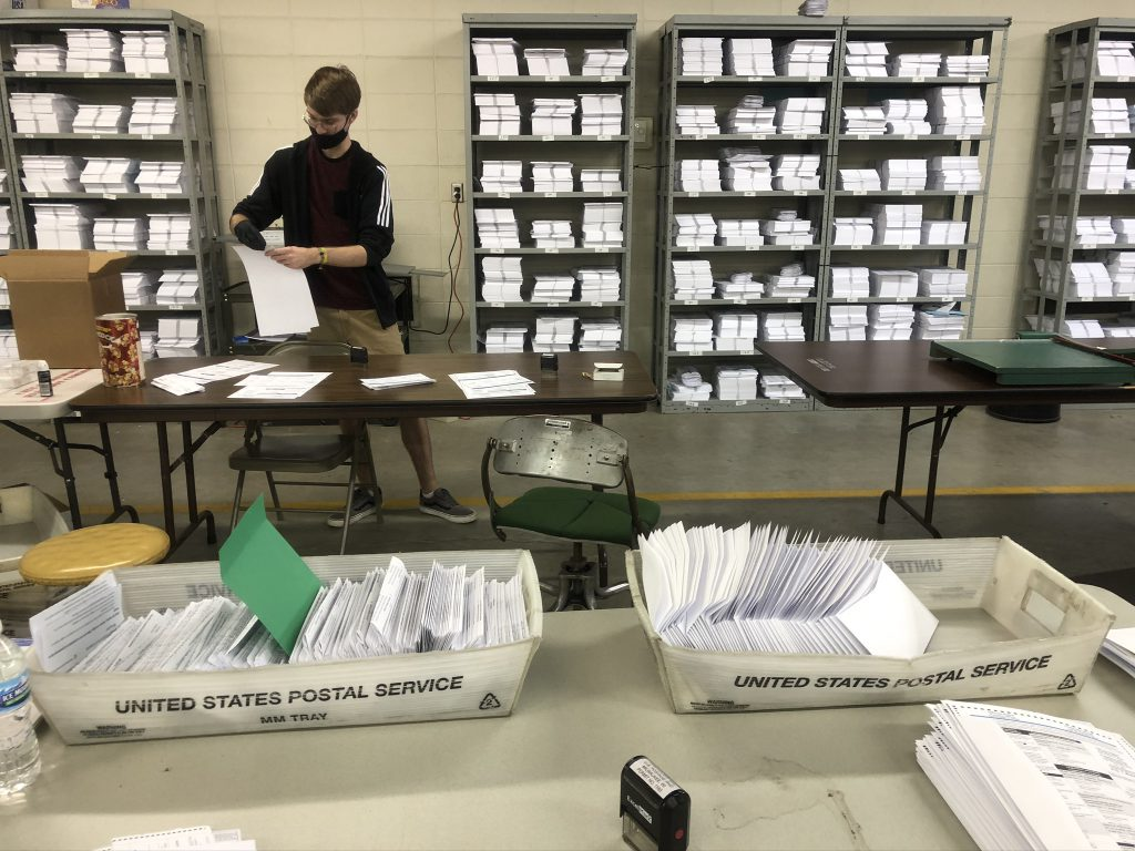 Outgoing ballots at the Milwaukee Election Commission warehouse. Photo by Jeramey Jannene.