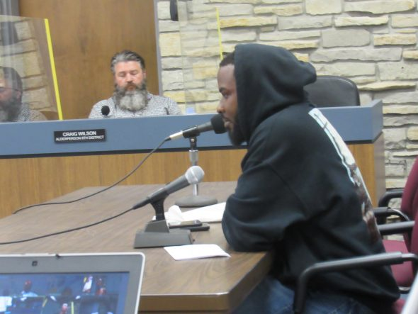 Activist Khalil Coleman speaks to the Wauwatosa Common Council. Photo by Isiah Holmes/Wisconsin Examiner.