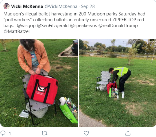 "A tweet by WISN host Vicki McKenna criticized Madison's Democracy in the Park event, which allowed voters to hand completed absentee ballots directly to poll workers on Sept. 26 and Oct. 3, 2020. She falsely called the event ""illegal ballot harvesting."" Caroline Hoffman, a poll worker stationed at Burrows Park on Oct. 3, outlined a complex process for securing ballot-collection bags. Twitter"