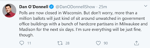 "Milwaukee-based WISN radio host Dan O'Donnell appeared to prime his audience to doubt the results of the April 7, 2020 primary by tweeting that ballots would sit ""unwatched"" in office buildings, surrounded by ""hardcore partisans."" Michael Wagner, an expert on political messaging at the University of Wisconsin-Madison, calls social media posts seeking to erode confidence in electoral systems ""the most insidious type of voter suppression."" Twitter"