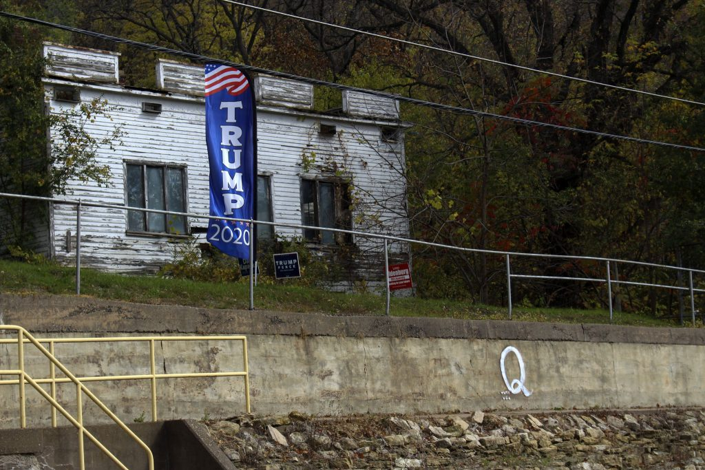 QAnon symbol painted on retaining wall in Ferryville, WI. Henry Redman | Wisconsin Examiner