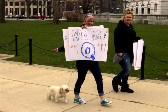 Anon conspiracy theorists dotted the Capitol square in April. Women have been more drawn to QAnon than other right-wing ideologies, experts say. Henry Redman | Wisconsin Examiner