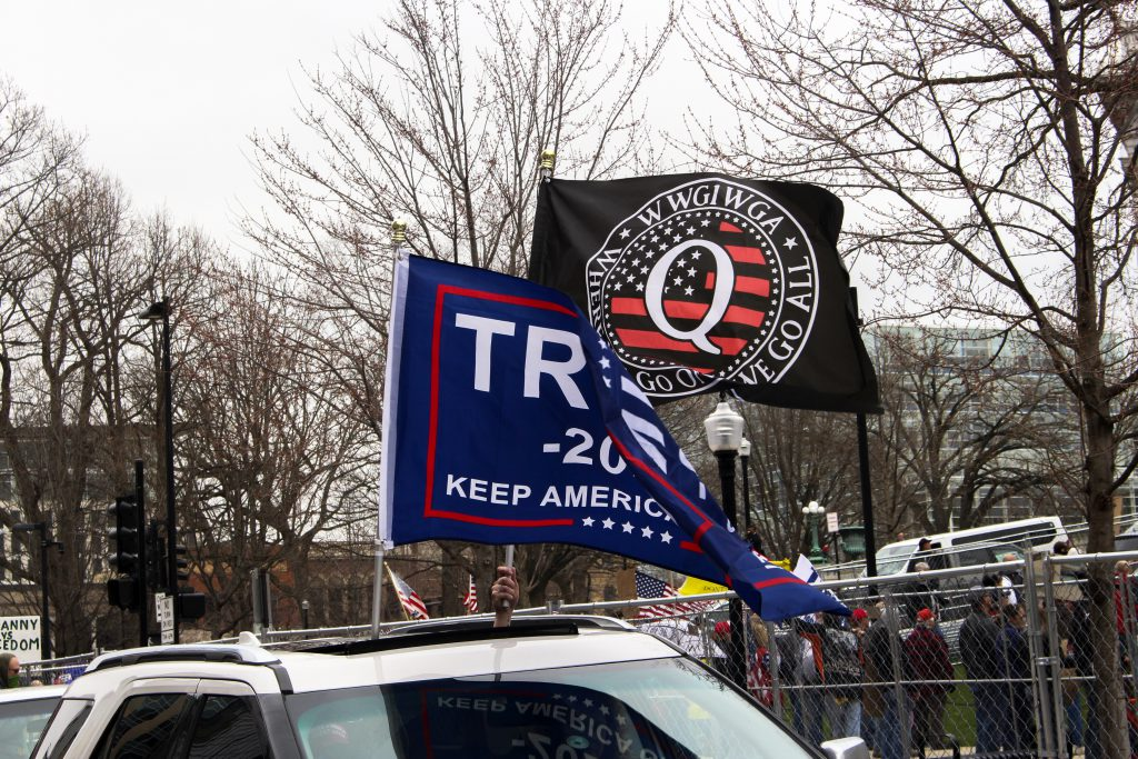 A QAnon flag displayed at April's Reopen Wisconsin rally in Madison. Henry Redman | Wisconsin Examiner