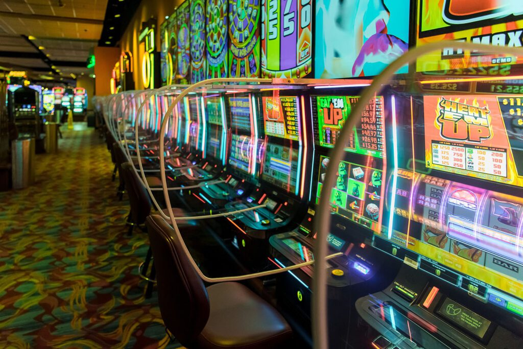 Slot machines at the casino are now separated by Plexiglass. Photo provided by Potawatomi Hotel & Casino/NNS.