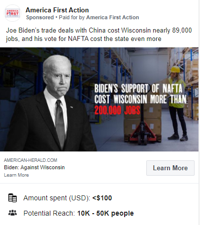 "America First Action, a super PAC supporting President Donald Trump, targeted Wisconsin voters in 2020 with ads containing the debunked claim that ""Joe Biden's trade deals with China cost Wisconsin nearly 89,000 jobs."" Facebook"