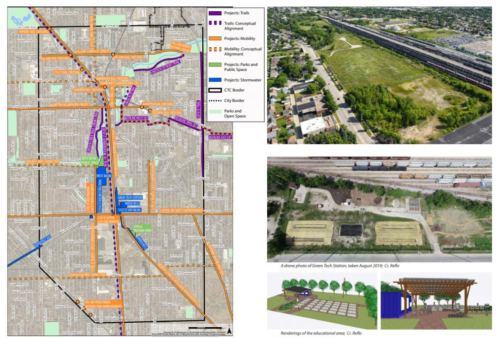 Connecting the Corridor Plan project map and aerial images. Images from the City of Milwaukee (aerial photo taken by Curtis Waltz).