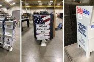 Ballot drop boxes, permanent boxes in left two images. Photos from Milwaukee Election Commission and Jeramey Jannene.