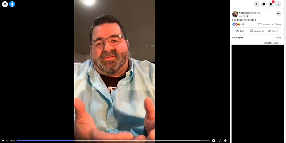 Dr. Chad Tamez, of West Bend, hosted Facebook Live sessions near the beginning of the pandemic to share information about COVID-19 with his patients. Tamez said he stopped holding the sessions in April after it became clear the pandemic was becoming a political issue. Facebook
