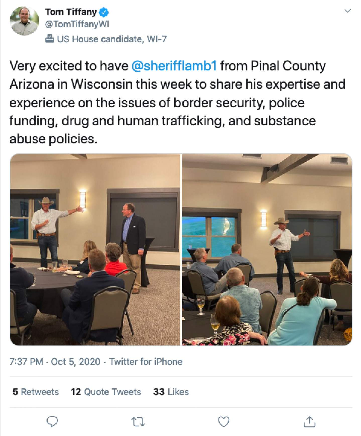 Rep. Tom Tiffany, R-Hazelhurst, shared photos on Twitter of an October 2020 campaign event held indoors during which attendees did not adhere to CDC guidelines. Tiffany was one of 17 Republicans who voted against an Oct. 2 bipartisan resolution in the U.S. House of Representatives condemning QAnon. Twitter