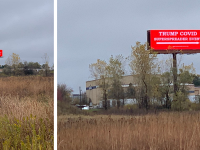 Billboard warning of Trump super-spreader event goes up in Waukesha ahead of Trump rally