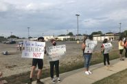 Teachers and other community members protested in-person instruction in Kenosha on Aug. 31, 2020. Madeline Fox/WPR