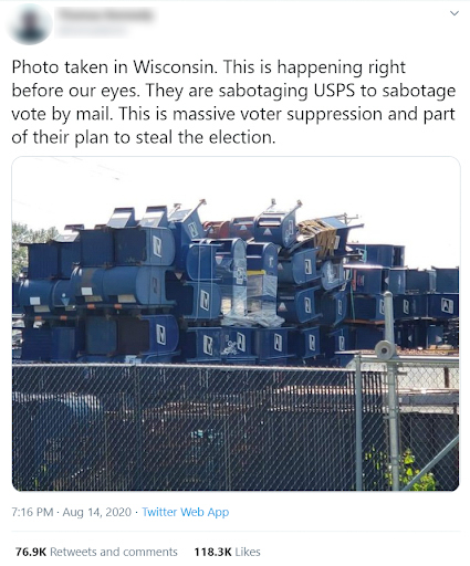 This widely shared photo depicts Hartford Finishing, a business in Hartford, Wisconsin, that contracts with the Postal Service to refurbish or destroy old mailboxes. It was falsely presented as evidence that the Postal Service was seeking to sabotage mail-in voting. Fact-checkers found the mailboxes in the photo were not being decommissioned to sabotage voting by mail. Wisconsin Watch has obscured the profile name of the Twitter user. Twitter