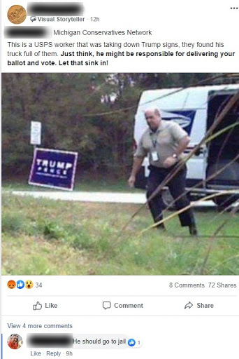 This image originally accompanied a story about a postal worker who removed Trump signs in Townsend, Delaware, immediately before the 2016 presidential election. But a Facebook user shared it in a group called Western Wisconsin Conservatives as if it were relevant and recent. Experts say a common tactic of disinformation actors is to repurpose old content to make it appear relevant to a modern day political debate. Wisconsin Watch has obscured the profile name of the Facebook user and a user who commented on the post. Facebook