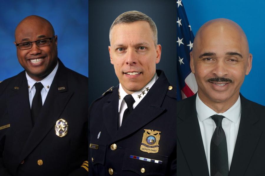 Malik Aziz, Chris Davis and Hoyt Mahaley. Images from the Dallas Police Department, Portland Police Bureau and FBI.