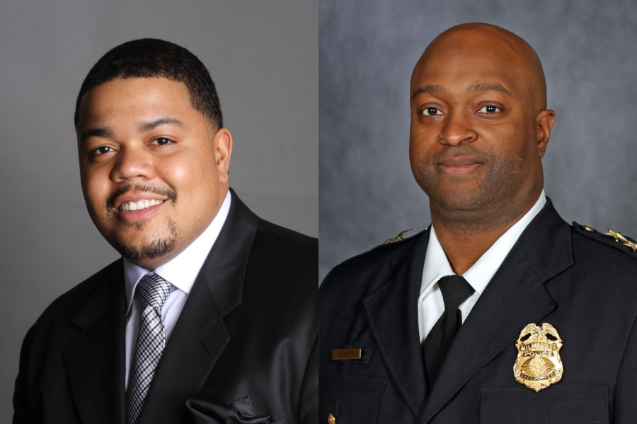 Ald. Khalif Rainey and Acting Police Chief Michael Brunson. Images from the City of Milwaukee.