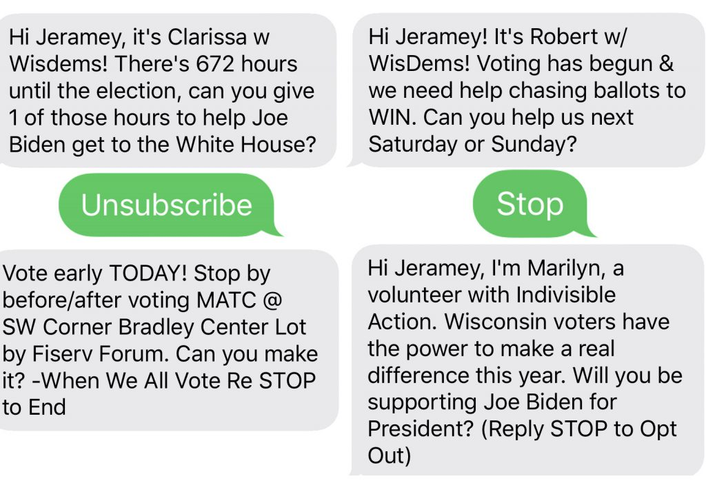Campaign text messages. Images from Jeramey Jannene.